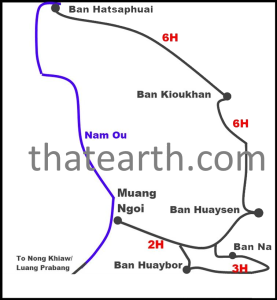 Hiking map for Muang Ngoi area